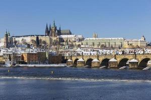 Snowy Prague Lesser Town with Prague Castle, Czech Republic photo