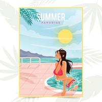 Pretty Woman Chilled and Bathing at the Summer Paradise vector