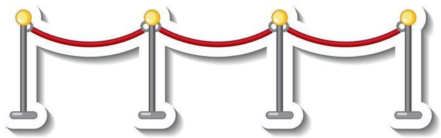Sticker template with stanchion and red rope isolated vector