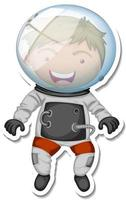 A sticker template with an astronaut cartoon character isolated vector