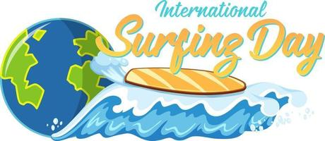 International Surfing Day font with surfboard on beach wave isolated vector