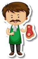 Sticker template with a meat seller man cartoon character isolated vector