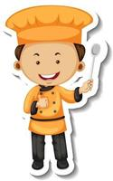 Sticker template with a chef boy cartoon character isolated vector
