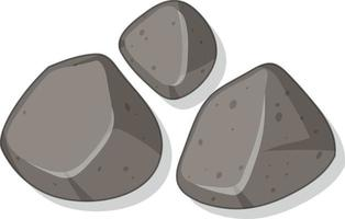 Set of granite stones isolated on white background vector