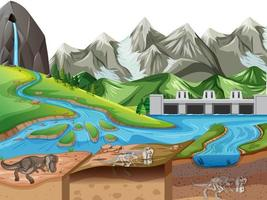 Nature landscape scene at daytime with dinosaur fossils in soil layers vector