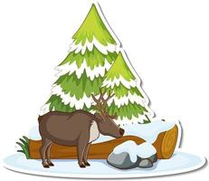 Moose with pine tree covered with snow sticker vector