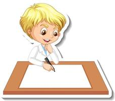 Scientist boy cartoon character with blank table vector