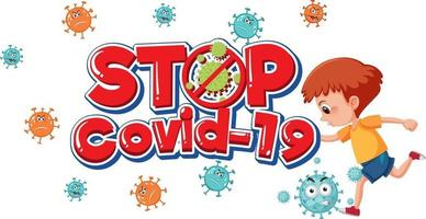 Stop Covid-19 logo or banner with kid cartoon character vector