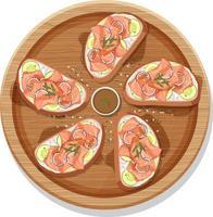 Smoked salmon bruschetta on a wooden round plate isolated vector