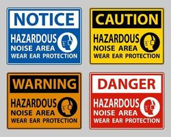 Hazardous Noise Area Wear Ear Protection on white background vector