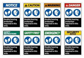 Double Hearing Protection Required In This Area With Ear Muffs and Ear Plugs vector