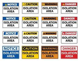 Set Isolation Area Sign Isolate On White Background,Vector Illustration EPS.10 vector