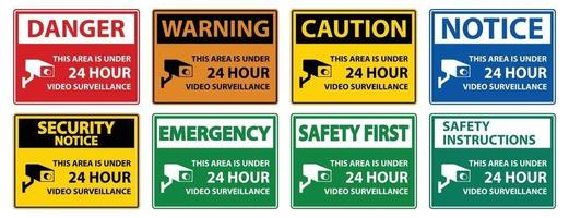 This Area Is Under 24 hour Video Surveillance Symbol Sign Isolated on White Background,Vector Illustration vector