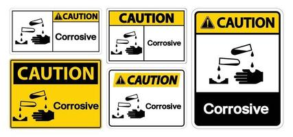 signo de símbolo corrosivo de precaución aislar sobre fondo blanco, ilustración vectorial eps.10 vector