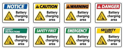 Battery charging area Sign on white background vector