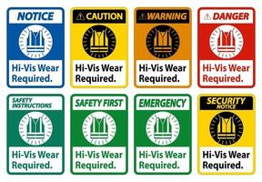 Hi-Vis Wear Required on white background vector