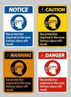 Eye Protection Required In This Area, Serious Injury Will Result vector