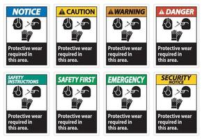 Wear Protective Equipment In This Area With PPE Symbols vector