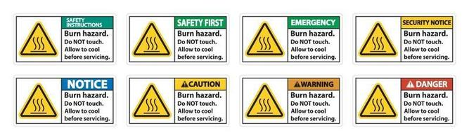 Burn hazard safety,Do not touch label Sign on white background vector