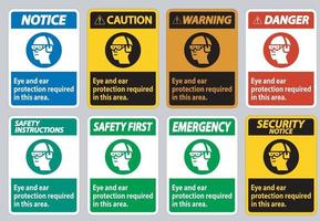 Eye And Ear Protection Required In This Area vector