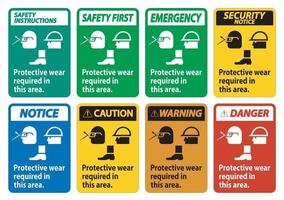 Protective Wear Is Required In This Area.With Goggles, Hard Hat, And Boots Symbols on white background vector