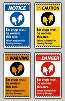 Ear Plugs Must Be Worn In This Area, Failure May Result In Hearing Damage vector