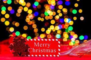 decoración navideña, navidad y fondo de vacaciones de año nuevo foto