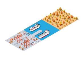 Port cargo ship transport logistics seaport vector