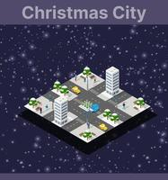 Isometric city with roads with streets houses and urban 3d illustration vector
