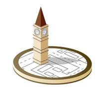 Old city block with buildings Isometric retro vector