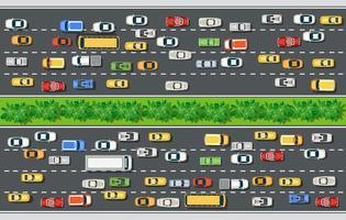 Vista superior de la carretera con carreteras con muchos vehículos diferentes. vector