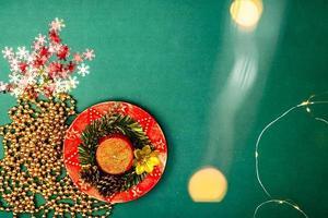 Christmas lights over a December season composition photo