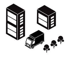 Isometric city map road, trees vector