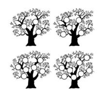 The family tree genealogical silhouette vector
