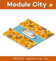 Isometric ship tourist liner of the industrial 3D illustration vector