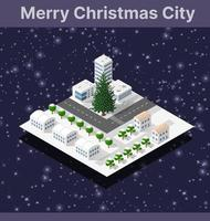 Winter Christmas tree, New Year is an isometric city with streets, roads, houses and transport vector