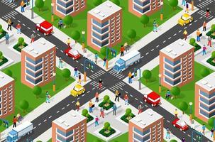Seamless urban plan pattern map vector