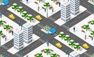 Isometric city with roads with streets houses and urban infrastructure illustration. vector
