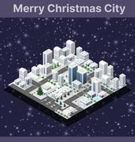 Winter Christmas tree, New Year is an isometric vector
