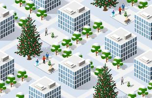 Winter Christmas tree seamless background, New Year is an isometric vector