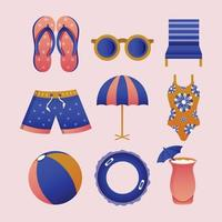 Swimming Icon Template Set vector