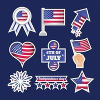 USA Independence Day Sticker Template Set vector