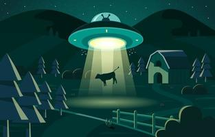 Cow Abducted by UFO at Night vector
