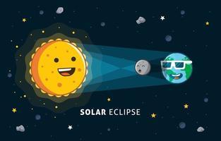 Cute Solar Eclipse Concept vector