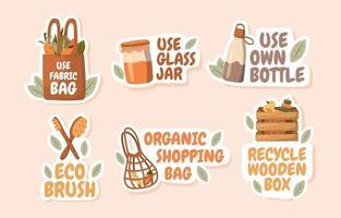 No Plastic Movement Sticker Collection vector