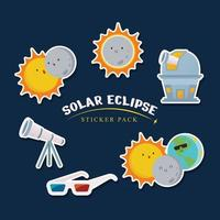 Solar Eclipse Sticker Pack vector