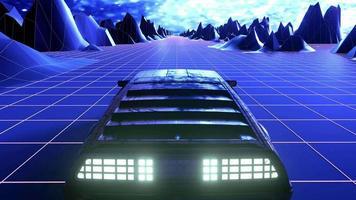3d render car Retro 80's movement video game sound background.