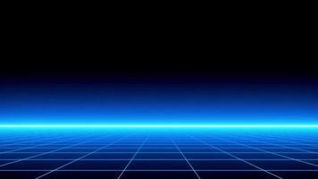 Fundo de estilo retro dos anos 80 com luz do pôr do sol da ilusão da lua a partir de imagens de vídeo 4K em loop de renderização 3D video
