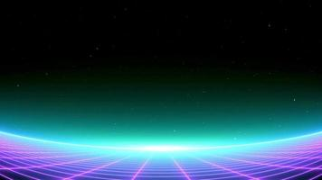 synthwave retro pinnacles commotion equalizer style wireframe net and stars 80s Retro Futurism retro future Background 3d outline render consistent circle video