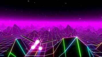 Retro 80's Fluorescent Day movement foundation. Computerized mountains and sky, theoretical retro scene. Loopable and consistent 3D video